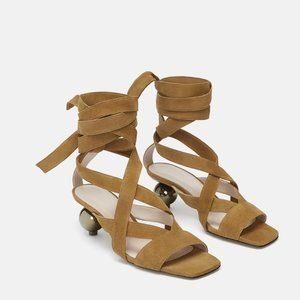 Zara Round Heel Wrap Sandal